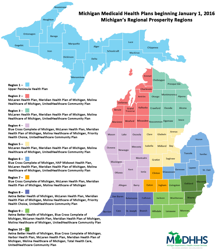 MichiganMedicaidHealthPlansJanuary2016. The Map On The Right Shows The Medicaid  Health Plans ...