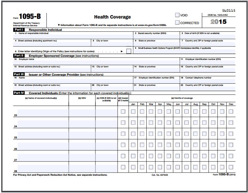 Do i need form 1095 b to file taxes