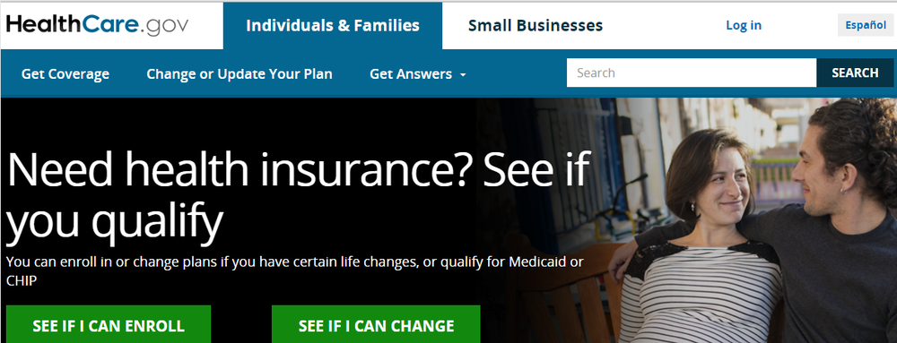 A screenshot of the  healthcare.gov  website. Applying online is generally easy.