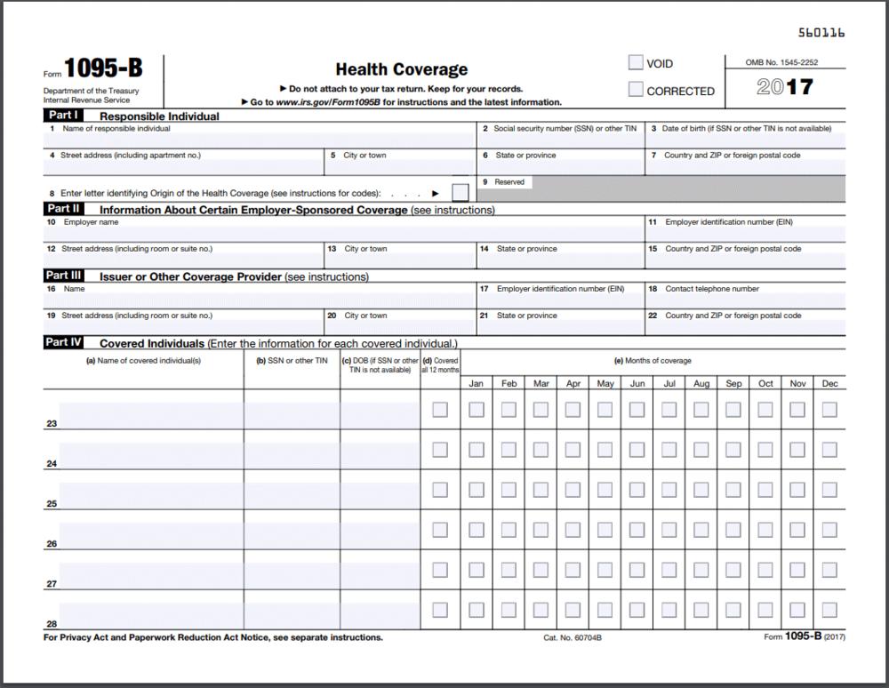 Formulario 1095-B - Información Básica del Formulario 1095-A