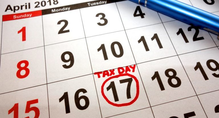 April 15th falls on a Sunday, and Washington DC celebrates Emancipation Day (the day Lincoln freed the slaves) on Monday, April 16th so Tax Day is Tuesday, April 17, 2018.