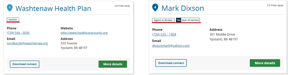 The Washtenaw Health Plan (left) is listed as an Assister; on the right, you find an Agent or Broker.