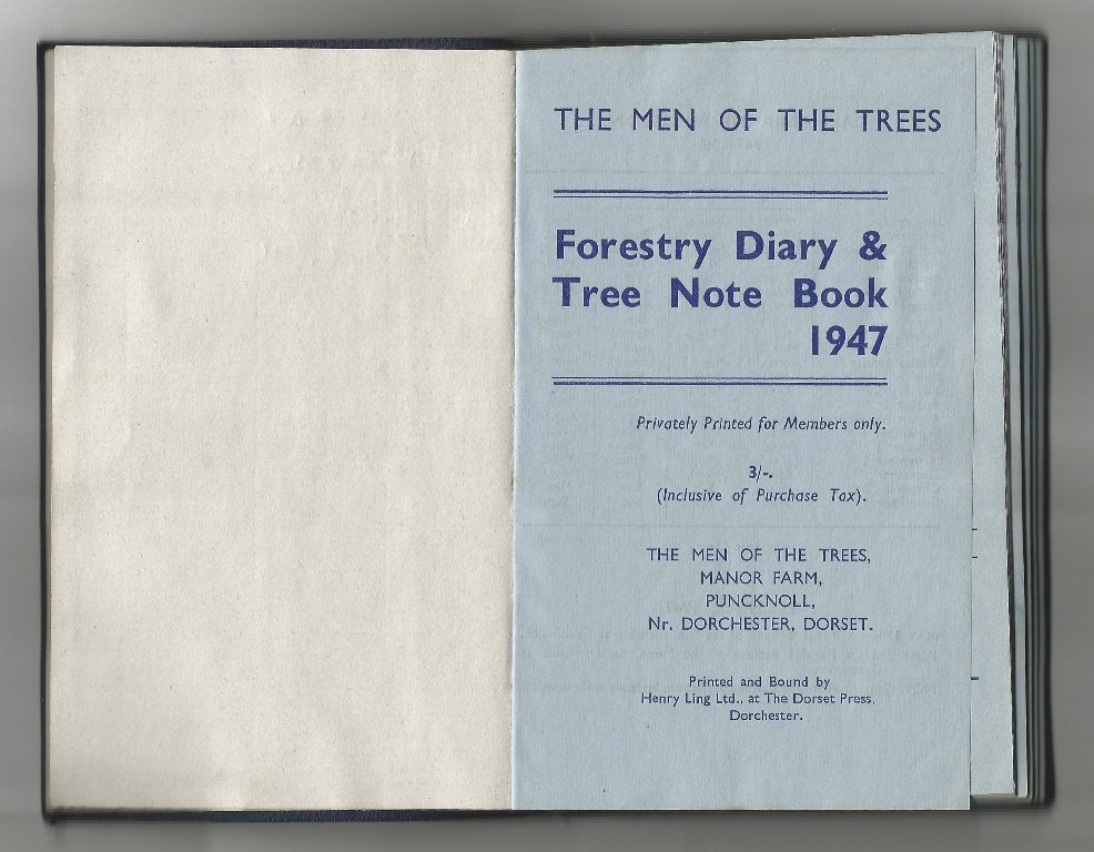 David Turley,  The Men of the Trees, Forestry Notebook from 1947 . Photo courtesy of the artist.