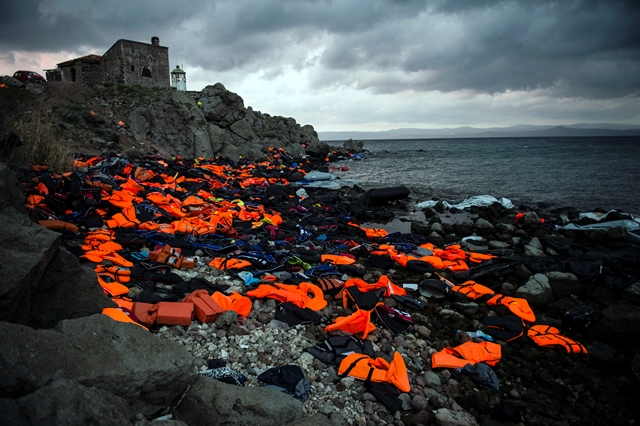 Sandra Hoyn,  Life Jackets on the Greek Island of Lesbos , 2016, Lesbos