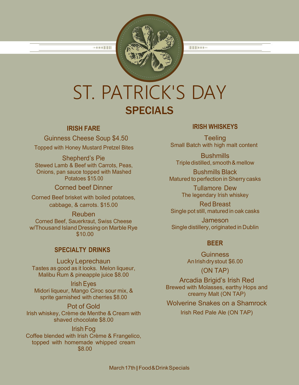 2FOG's Pub St. Patrick's Day Specials Menu