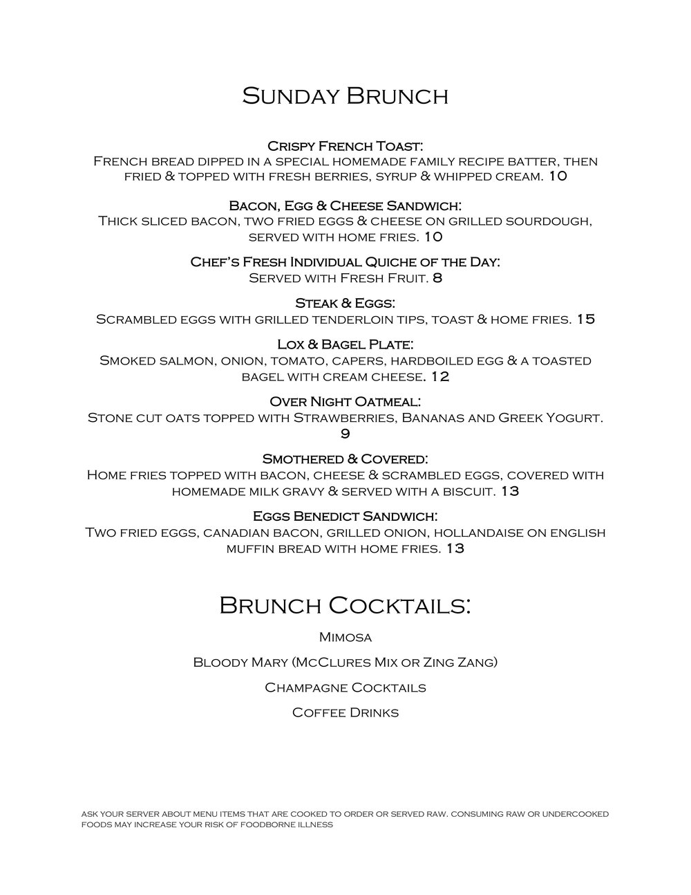 2FOG's Pub 2018 Mother's Day Brunch Menu - Page 1