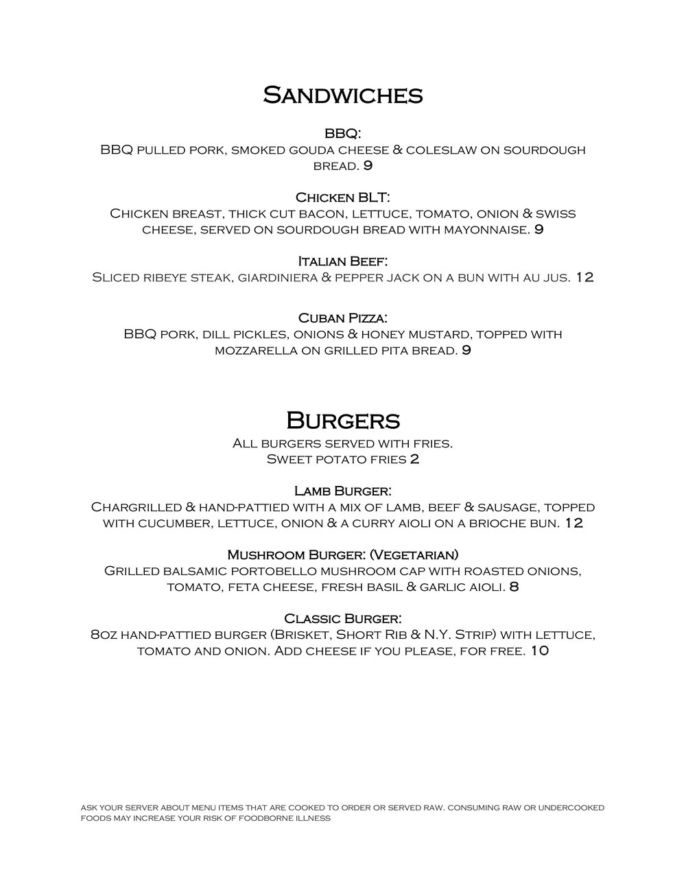 2FOG's Pub 2018 Mother's Day Brunch Menu - Page 2