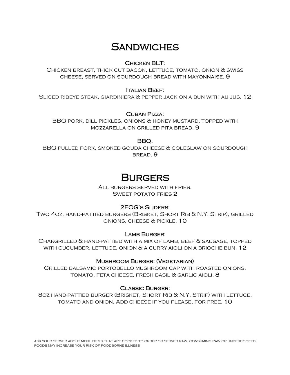 2FOG's Pub Sunday Brunch Menu - Page 2