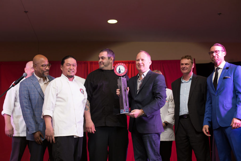 Winners of the 2018 Cleary Culinary Cup - Chris Landells of 2FOG's Pub & David Snodgrass of Lake Trust Credit Union