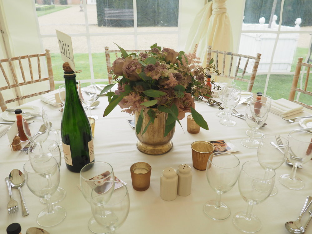 centre pieces at squerryes court wedding