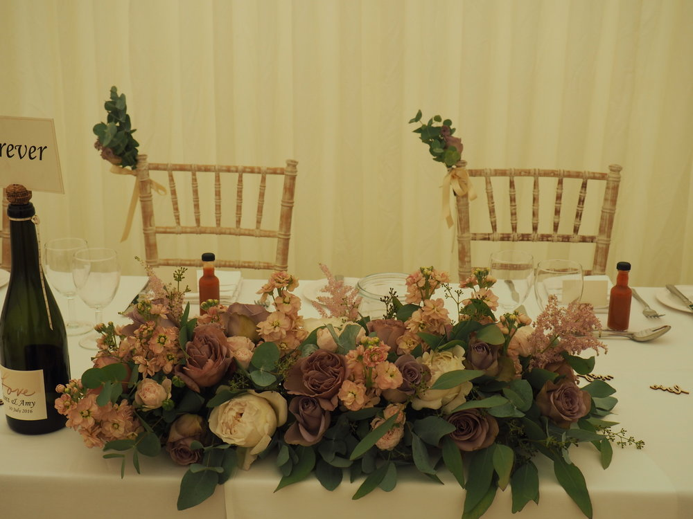 top table arrangement squerryes court wedding