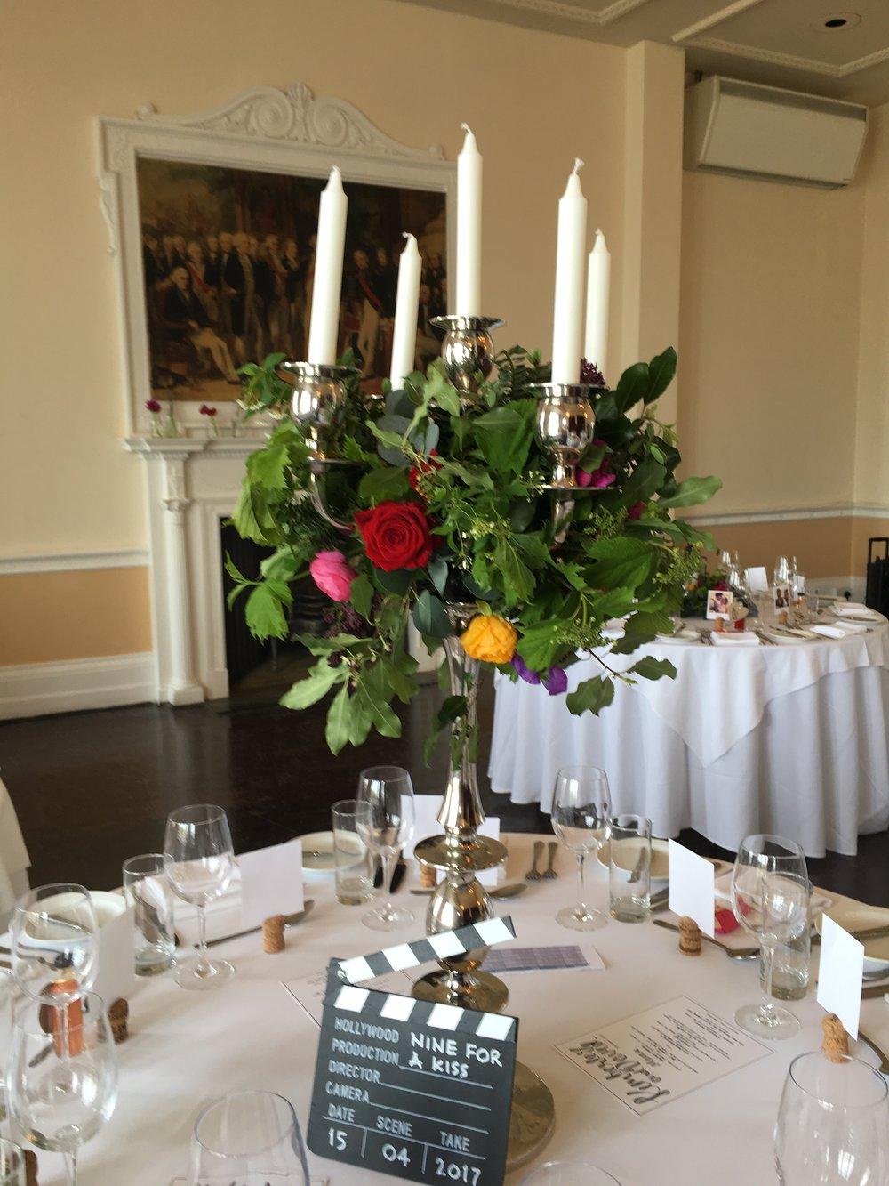 Trafalgar tavern greenwich wedding candelabra centrepiece