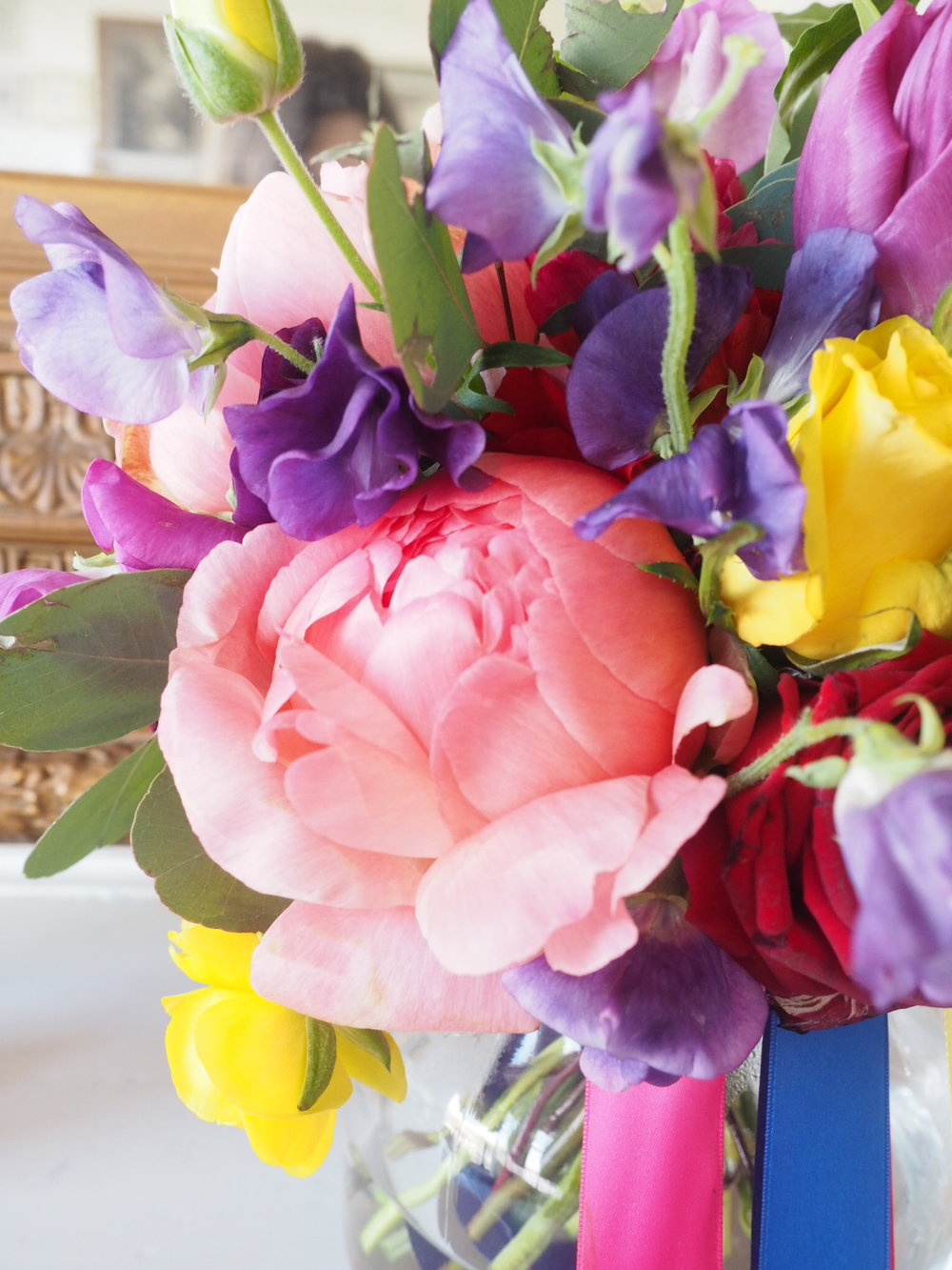 Trafalgar Tavern wedding bridal bouquet peonies
