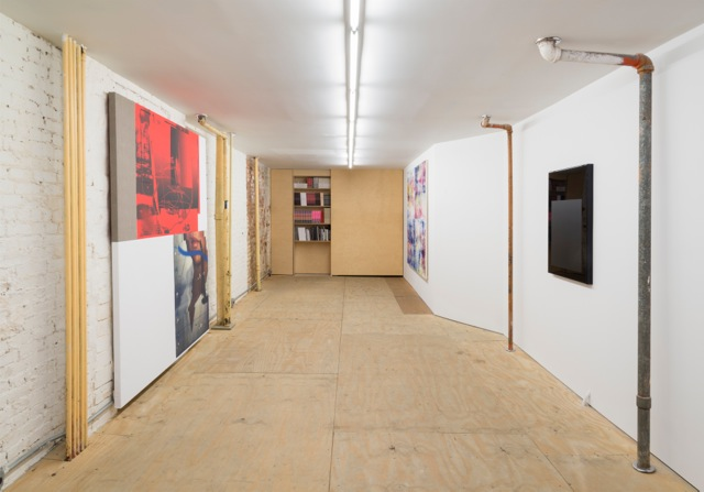 Installation view, 'Promise Problem', Osmos Address, New York, 2015. Photo by Adam Reich, courtesy of Osmos Address, New York. Artwork by Chris Dorland, Israel Lund and Gerold Miller, 2015.