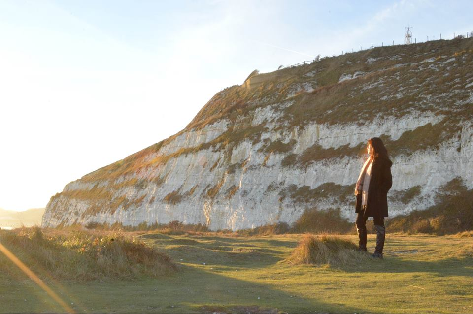 I learned how to use the self-timer on my camera and took this on the White Cliffs of Dover just as the sun was setting!