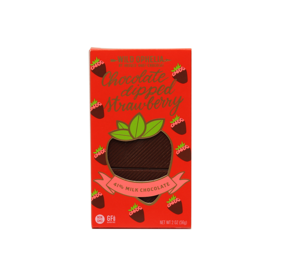 CHOCOLATE DIPPED STRAWBERRY    Our fresh and tart Chocolate Dipped Strawberry bar is made with berries picked at their peak for optimal flavor. Discover an intense, tart berry burst as the chocolate melts.