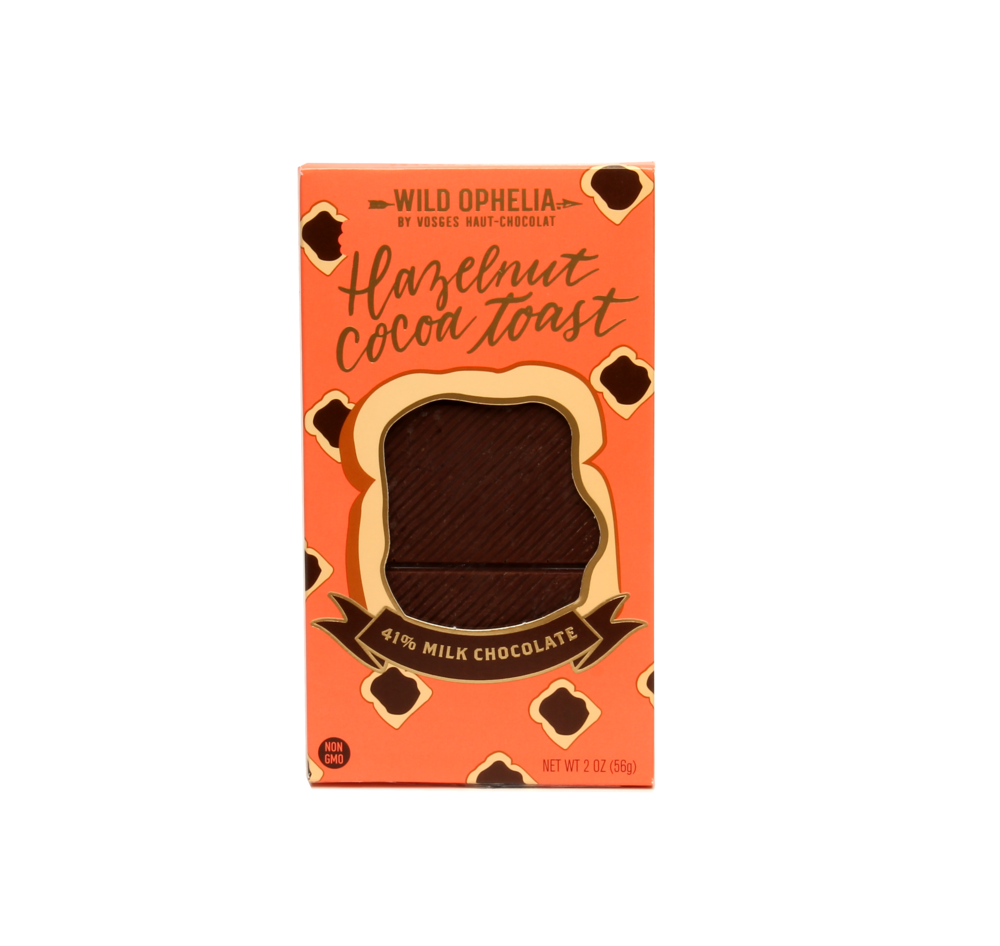HAZELNUT COCOA TOAST    Enjoy the rich flavors of ground dry-roasted hazelnuts swirled into milk chocolate, which is speckled with texture from toast-like crumbles.