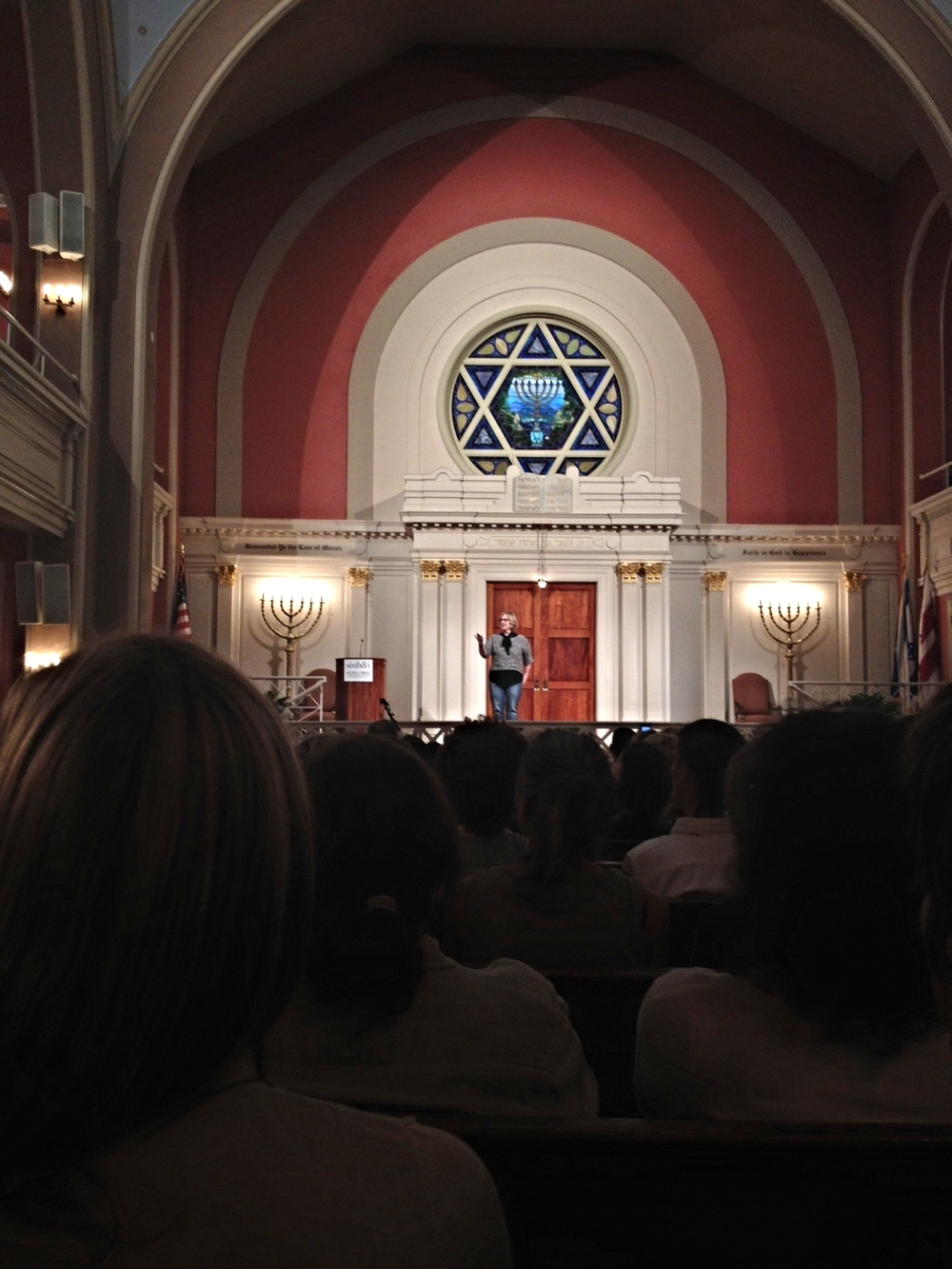 Brene Brown speaking at the historic Sixth and I Synagogue in Washington, DC.