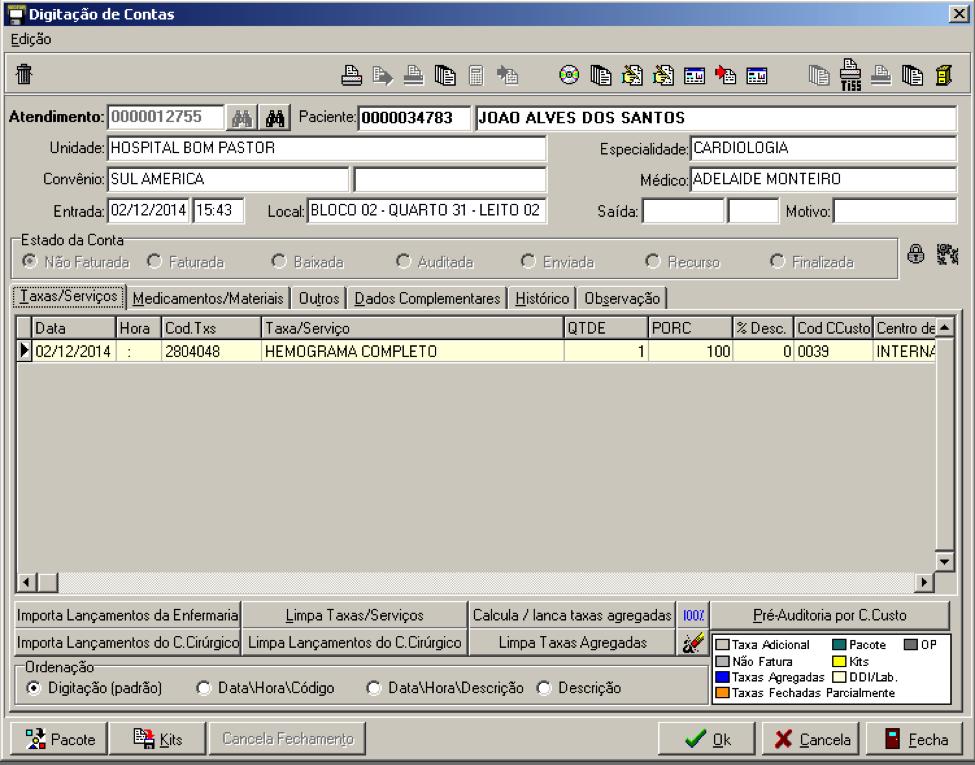 Digitação/revisão de contas: permite visualizar e alterar toda a conta do paciente
