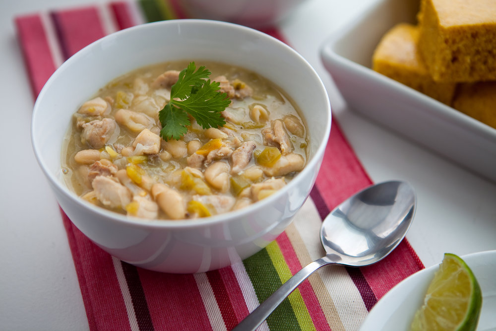 White Chicken Chili pairs great with corn bread or whole grain biscuits. It's so good!
