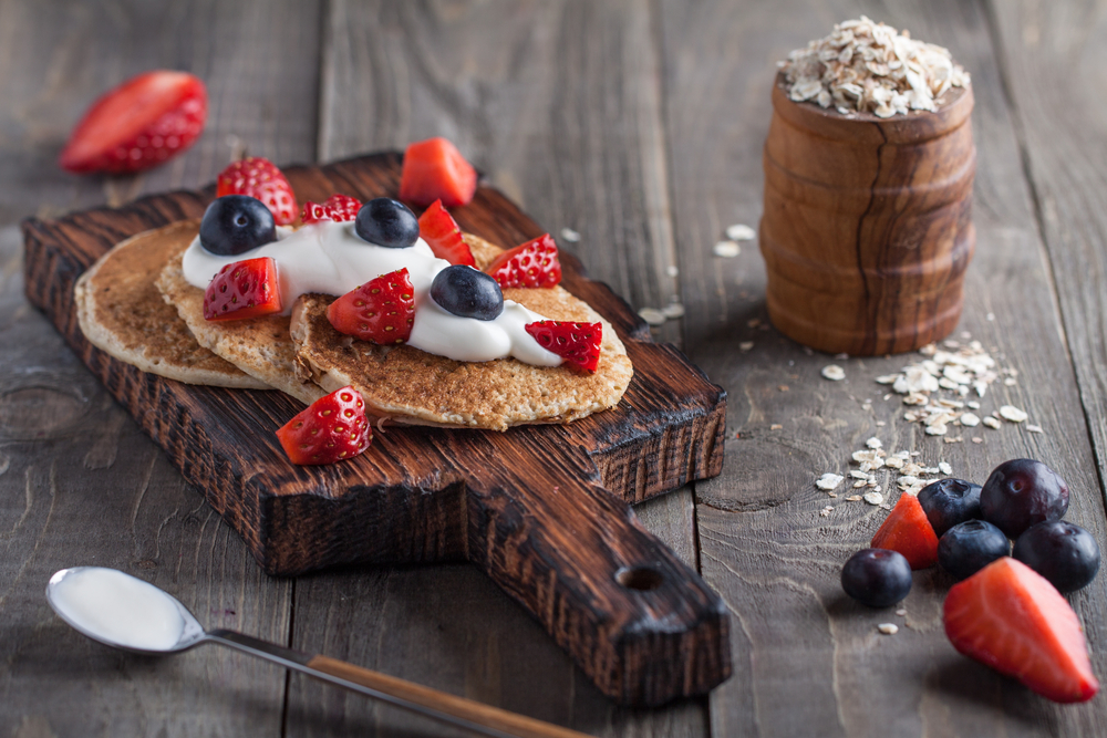 Made with whole grains such as oats and protein packed ingredients, these pancakes are a nutritional superstar. Oh yeah, and they taste great!