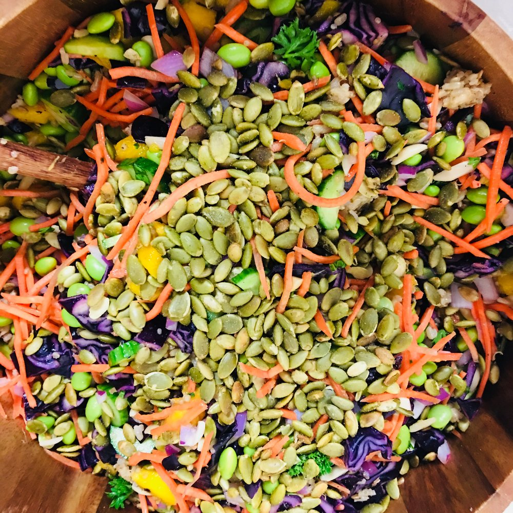 Did you know? - Pumpkin seeds are an excellent source of magnesium needed for hundreds of essential body functions and...edamame beans are simply an immature soybean!