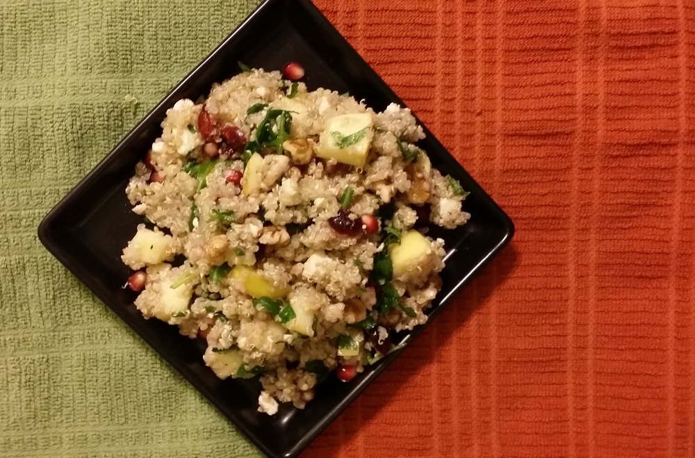 I love this  pomegranate quinoa salad , not only is it loaded with protein, healthy fats, and fibre, but also phytochemicals!