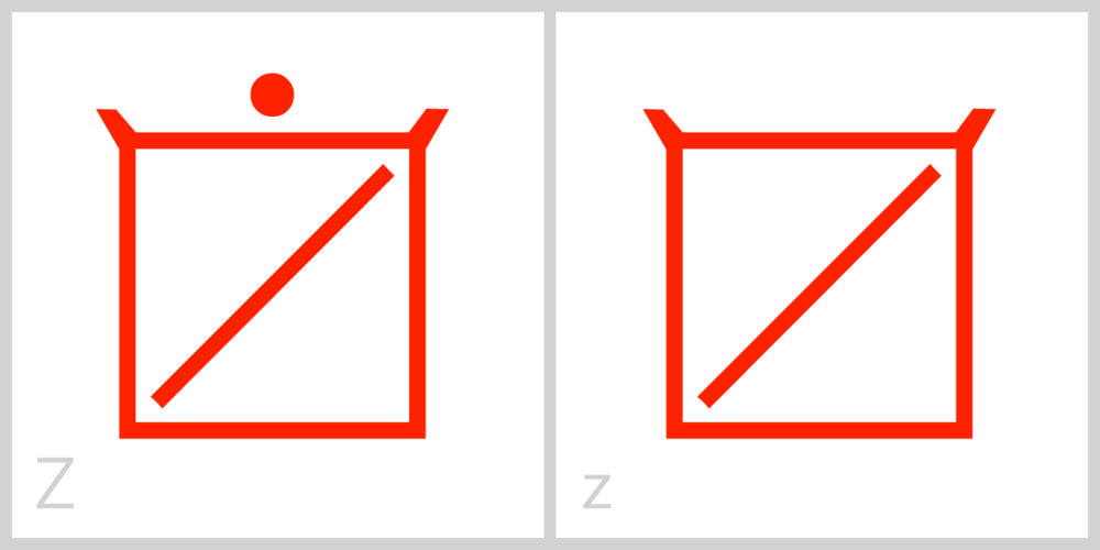Zz Z has a square frame with a diagonal line extending from the top right corner of its frame to the bottom left corner of its frame. You can trace the Roman capital letter Z in this symbol by incorporating the top and bottom parts of the frame and the inside diagonal line.