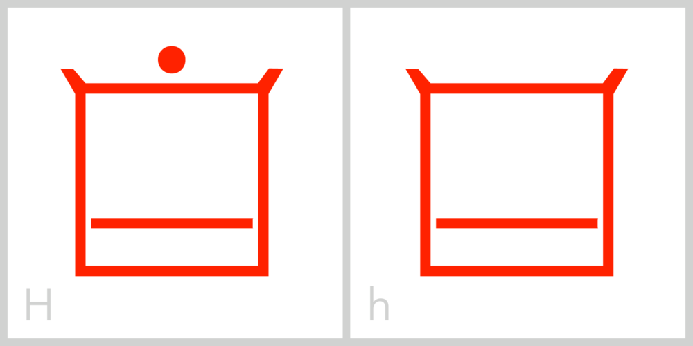 Hh H is very similar to the E and F in that it has a square frame with a horizontal line in its interior; however, the interior line in the H is in the bottom half of its frame, instead of the middle of its frame as it is in the letter E, or the top half of its frame as it is in the letter F. This is similar to the Roman lowercase h, which has the majority of its mass in the lower portion of the letter.