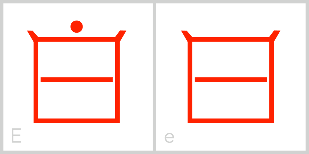 Ee E has a square frame with an interior horizontal line extending from the middle of the left side of its frame to the middle of the right side of its frame. You can trace the Roman capital letter E in this symbol by incorporating the top, left and bottom sides of the frame along with the inside horizontal line.