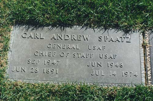 He is buried in Colorado Springs, CO, at the Air Force Academy he helped to found.