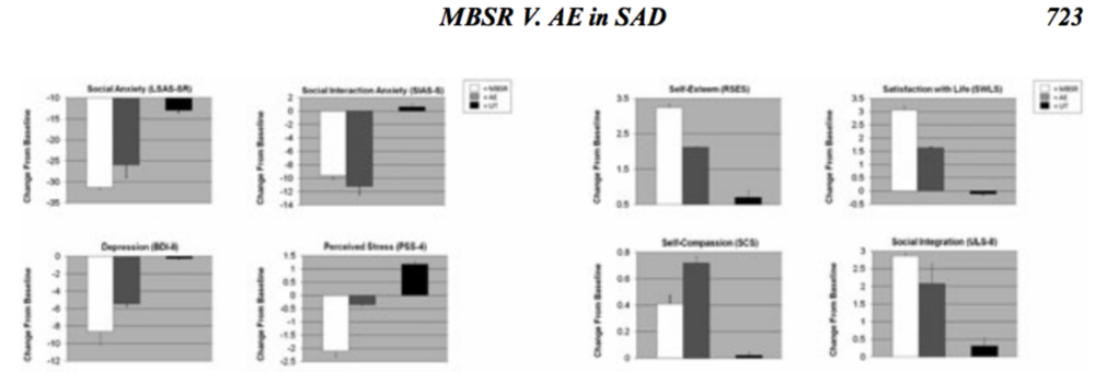 Jazaieri, H., Goldin, P. R., Werner, K., Ziv, M., & Gross, J. J. (2012). A randomized trial of MBSR versus aerobic exercise for social anxiety disorder.  Journal of Clinical Psychology ,  68 (7), 715-731.
