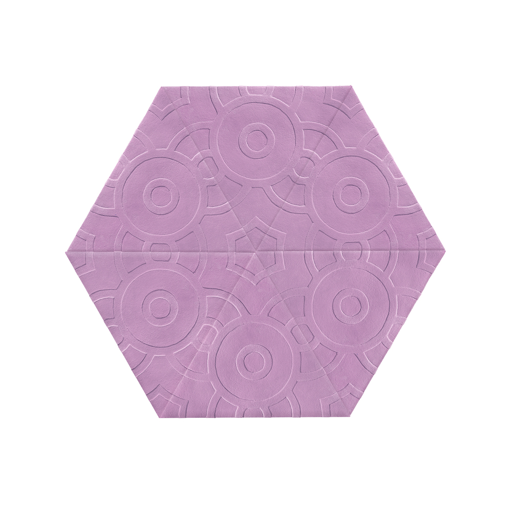 Large Hexagon  Style: Lilac Circle Dot Blind Quantity: 6 Triangles Measures: 6' w x 5'2''h Cost: $2,400 USD