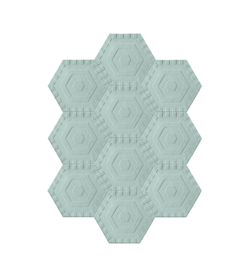10 Piece Configuration    Style: Sky  Quantity: 10 Hexagons  Measures:  7'6'' w x 10'4''  h  Cost: $4,500 USD
