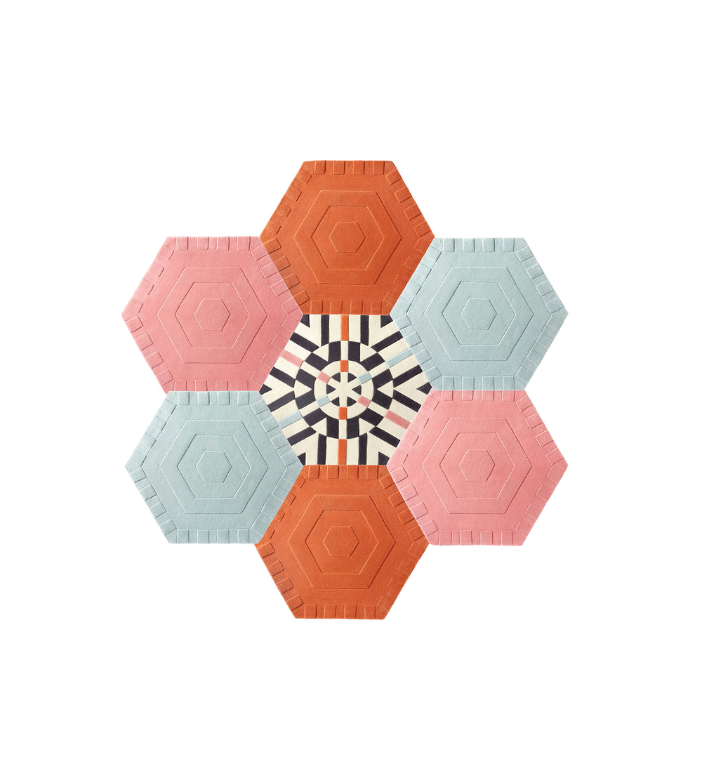 Honeycomb    Style: Solids mix, Kaleidoscope  Quantity: 7 Hexagons  Measures:  7'6'' w x 7'9'' h  Cost: $3,150 USD