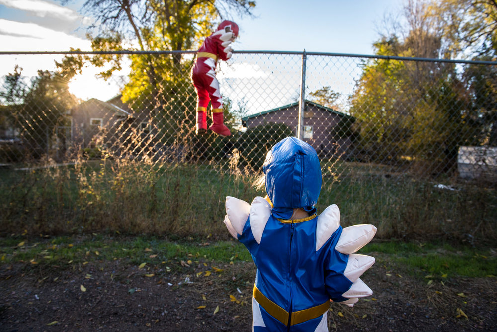Molly Rees Photo - Documentary Childhood Photography in Denver, Colorado - Power Rangers making their escape by M. Menschel
