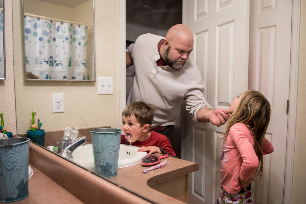 Documentary Family Photography in Denver, Colorado - teeth brushing