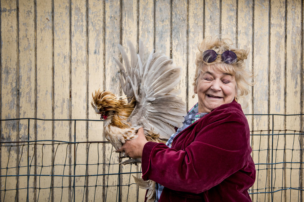 Blog - The Pen & Camera - Gratitude Journal, Inspirational, Writing, Denver, Colorado, Farm Festival - Molly Rees Photo -  Documentary Photography - portrait of woman with chicken by M. Menschel