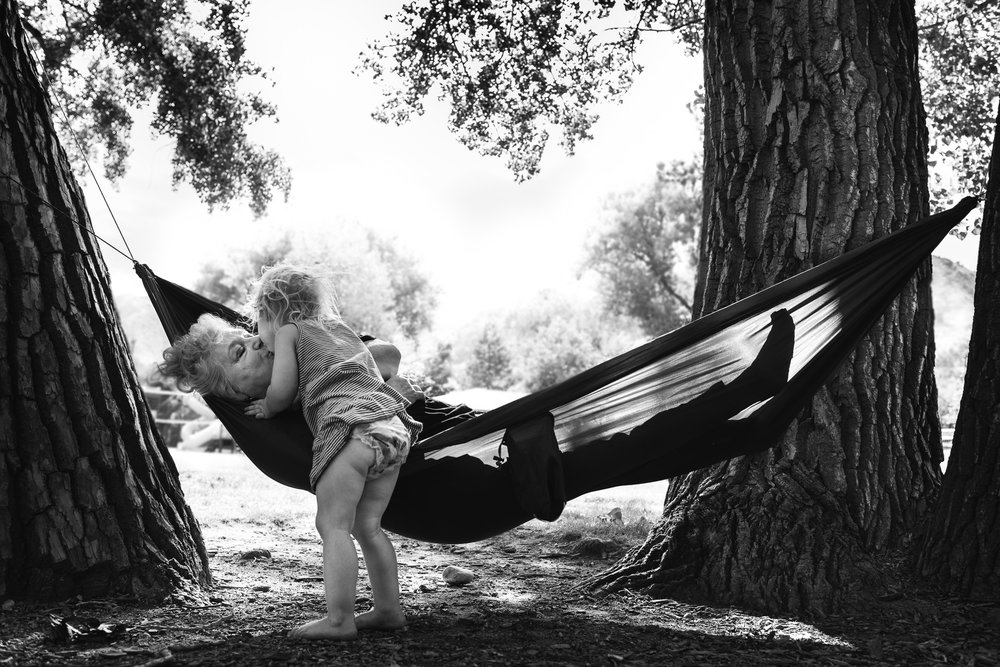 Molly Rees Photo - Black and White Documentary Family Photography - toddler girl kissing grandma in hammock in summer by M. Menschel