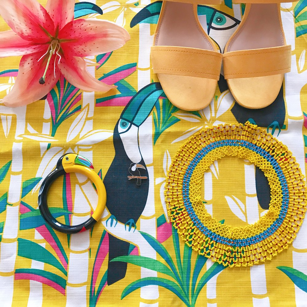 Yellow mules, vintage Toucan bangle & Mom's beaded collar that was handmade by Amerindian crafters in Guyana.