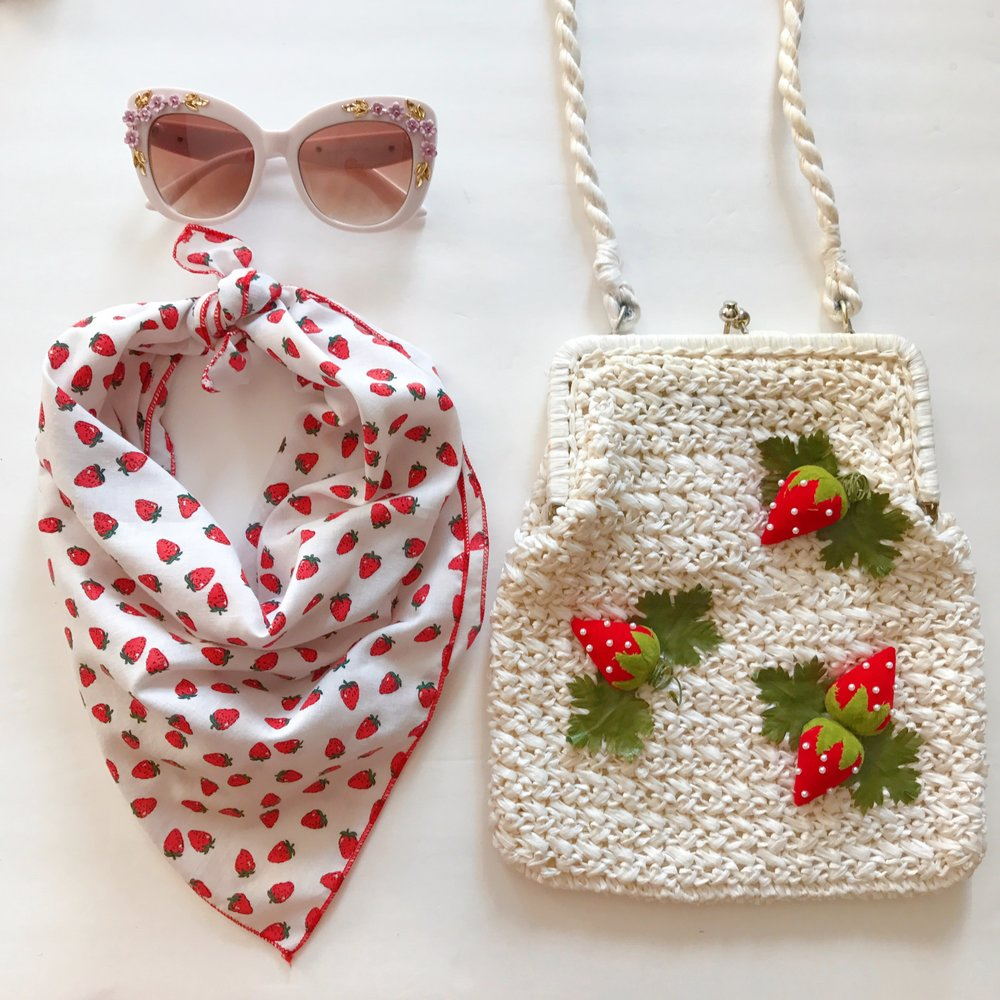 Floral embellished sunglasses, vintage strawberry print scarf & vintage 60's raffia purse with 3D strawberries