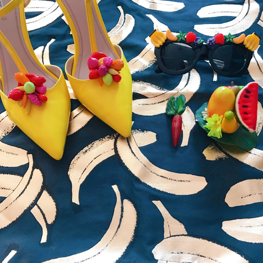 DIY Tutti-Frutti sunnies, DIY fruit heels (coming soon), tropical fruit pinup hair accessory, Mom's vintage carrot brooch