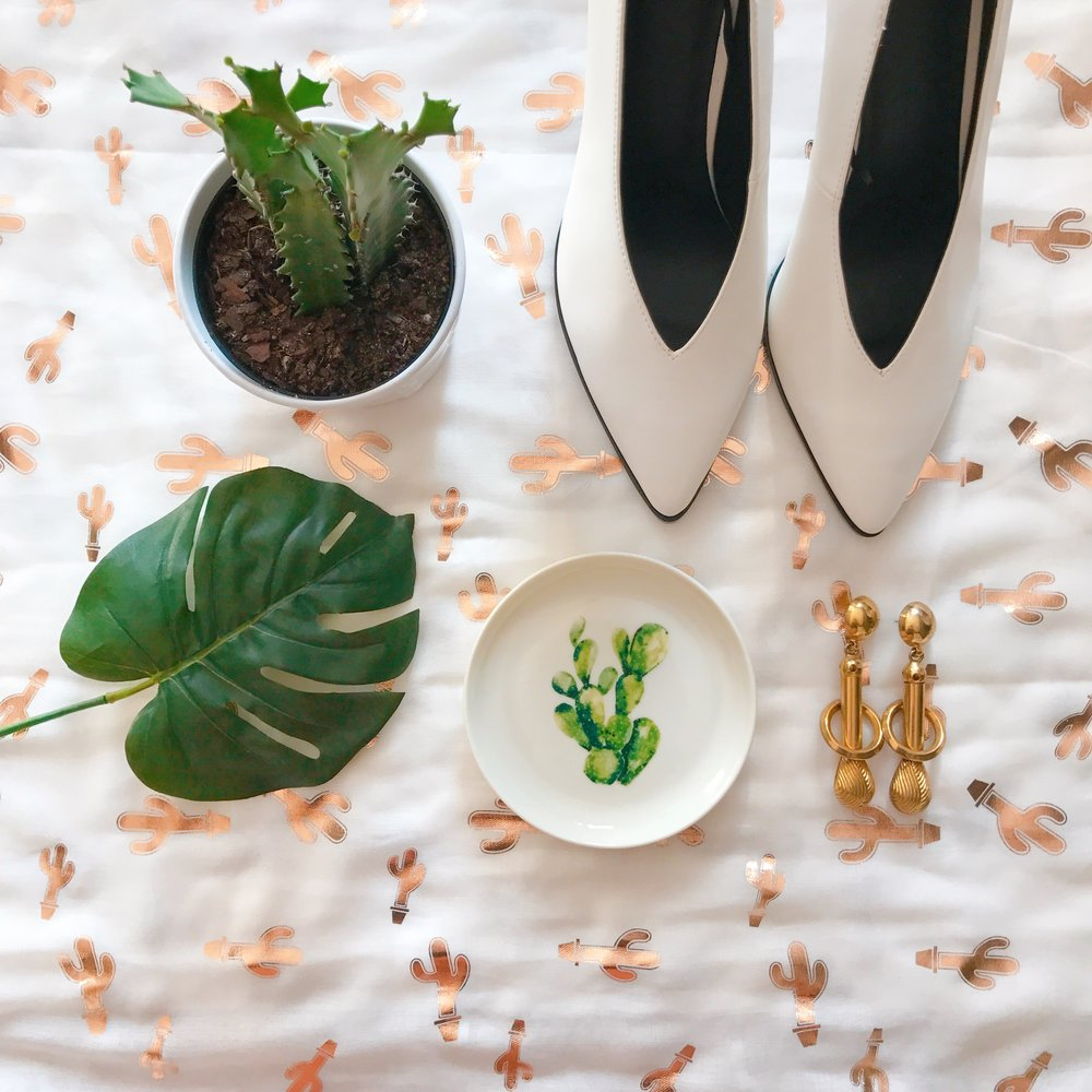 80's inspired heels, cactus dish, metallic-gold cactus print scarf and Mom's 80's architectural earrings