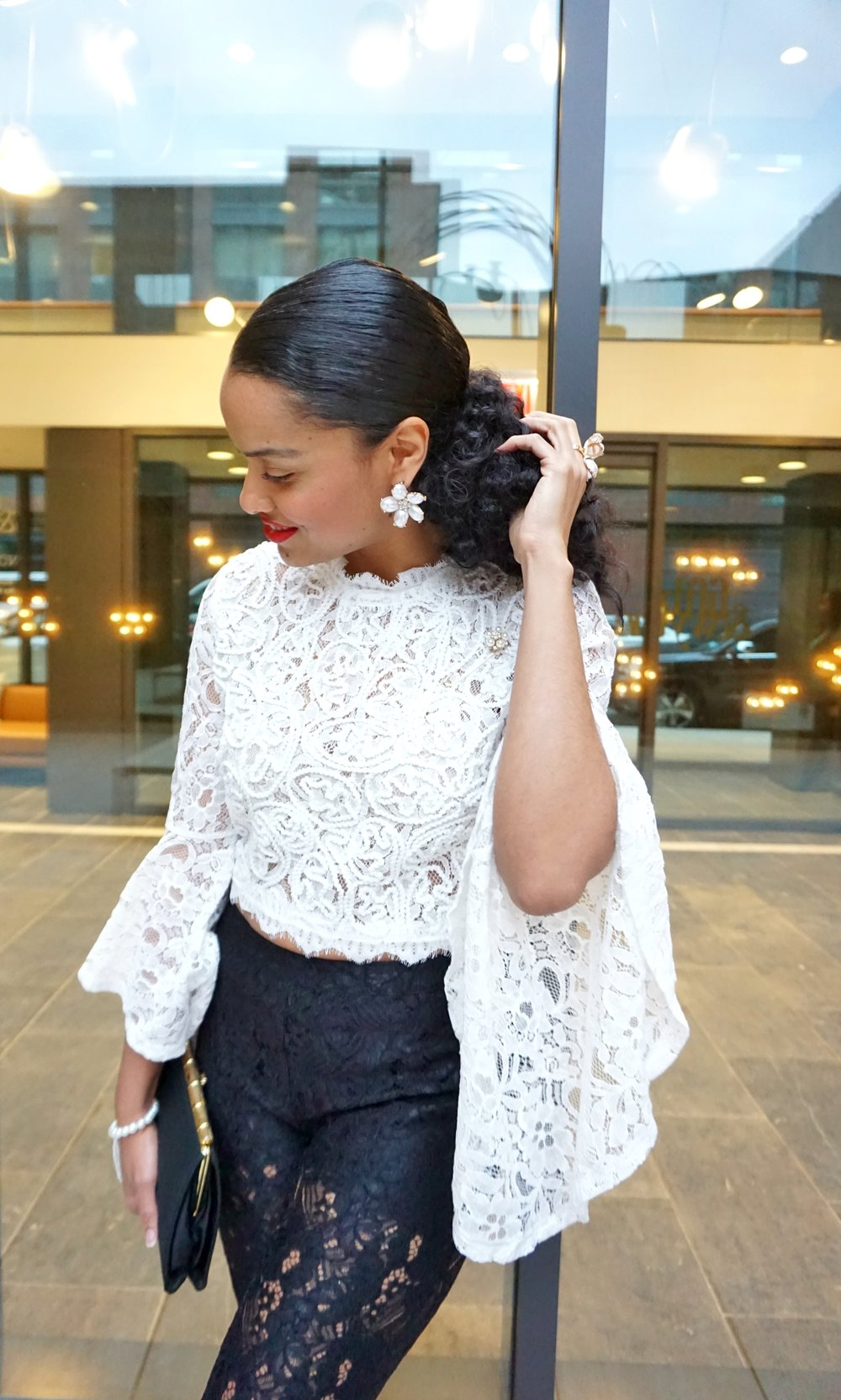 593f6baff White Lace Bell Sleeve Blouse