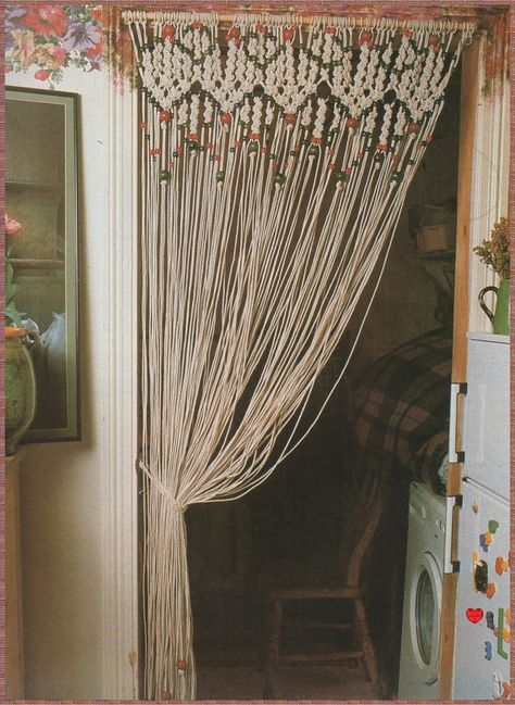 VINTAGE 1970s BEADED MACRAME CURTAIN