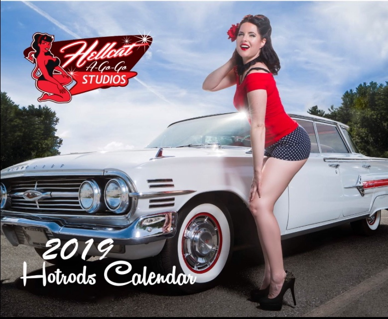 My shorts are worn by Julie Gibbs (@mamabasspinupdoll), who is not only Miss October 2019, but also the cover model for the 2019 Hotrods Calender (photo courtesy of @johnnyarmaos from Hellcat Studios).