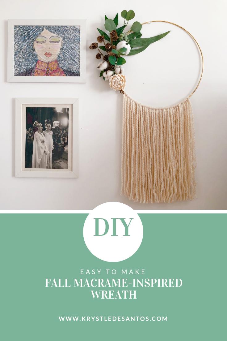 Diy Fall Macrame Inspired Wreath Krystle Desantos