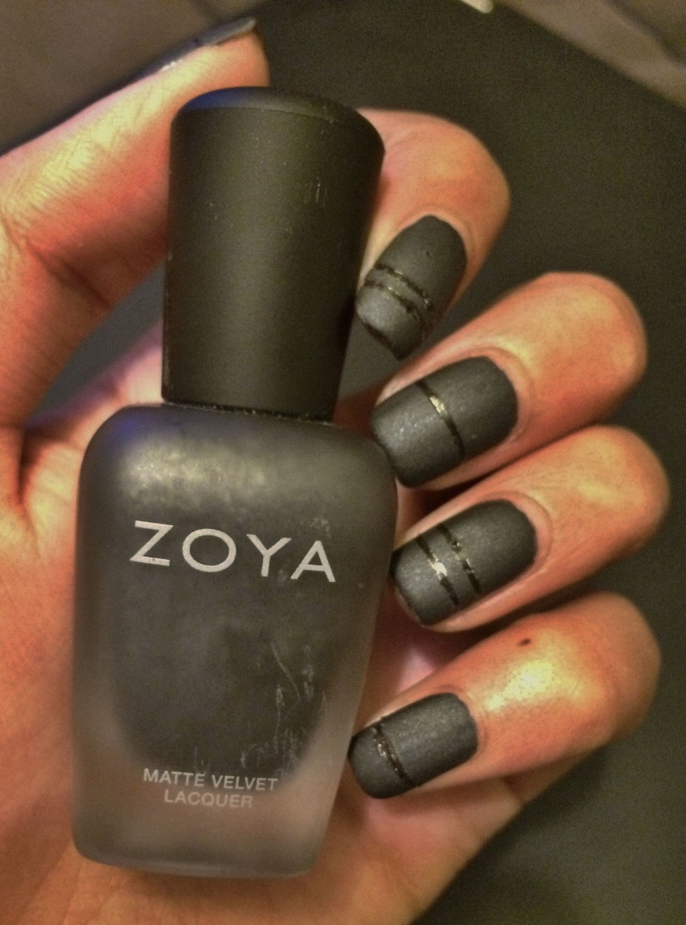 Matte Black Nails w/ Glossy Stripe Accents — ANGELIE HERRERIA
