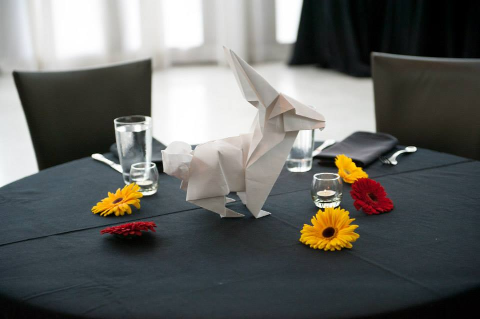 Rabbit folded by Matt LaBoone for our wedding in August, 2014.