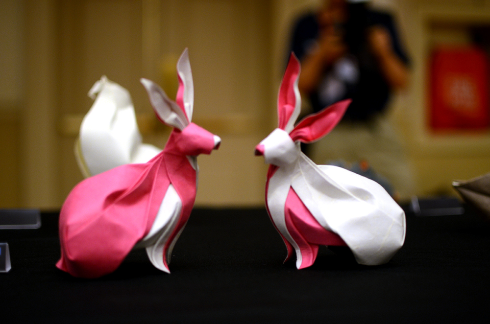 """Twin Rabbits"" by Nguyen Hung Cuong at the Origami USA Convention, 2015."